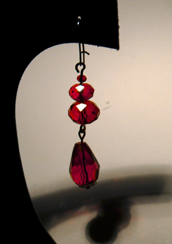 Red 2 Tier Drop Earrings