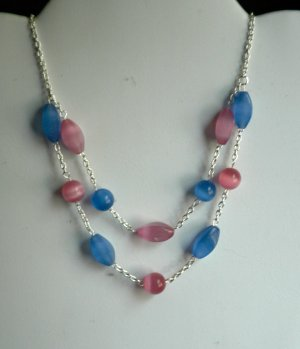 Pink & Blue Two-Tier Cat's Eye necklace
