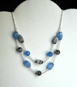 Black & Blue Two-Tier Cat's Eye necklace