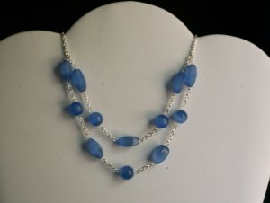 Blue Two-Tier Cat's Eye necklace