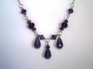 Purple Triple Drop Necklace