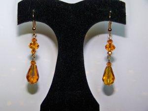 Gold 2 Tier Saucer Drop Earrings