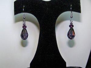 Purple Single Tier Drop Earrings