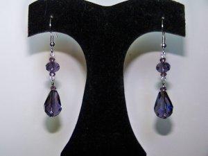 Purple 2 Tier Saucer Drop Earrings
