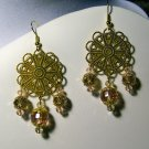Gold Foil Triple Drop Earrings