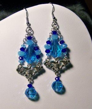 Blue Triple Strand Triangle-fleurette Earrings