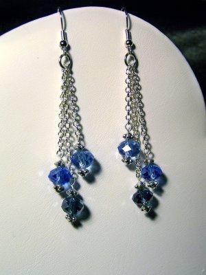 3 chain blue Earrings