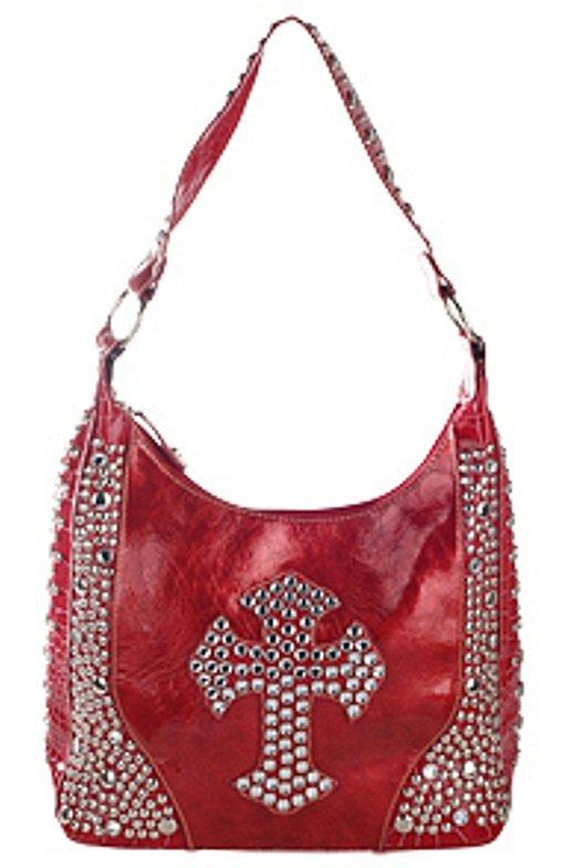 Stones and Studded Cross Design Bag w/Studded Handle - Each Bag