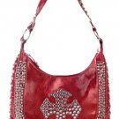 Stones and Studded Cross Design Bag w/Studded Handle - Each Bag