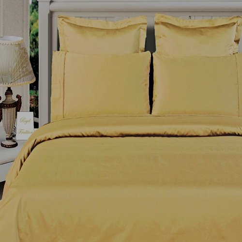 100% Bamboo Organic Cotton Queen Size Gold Duvet Cover Set