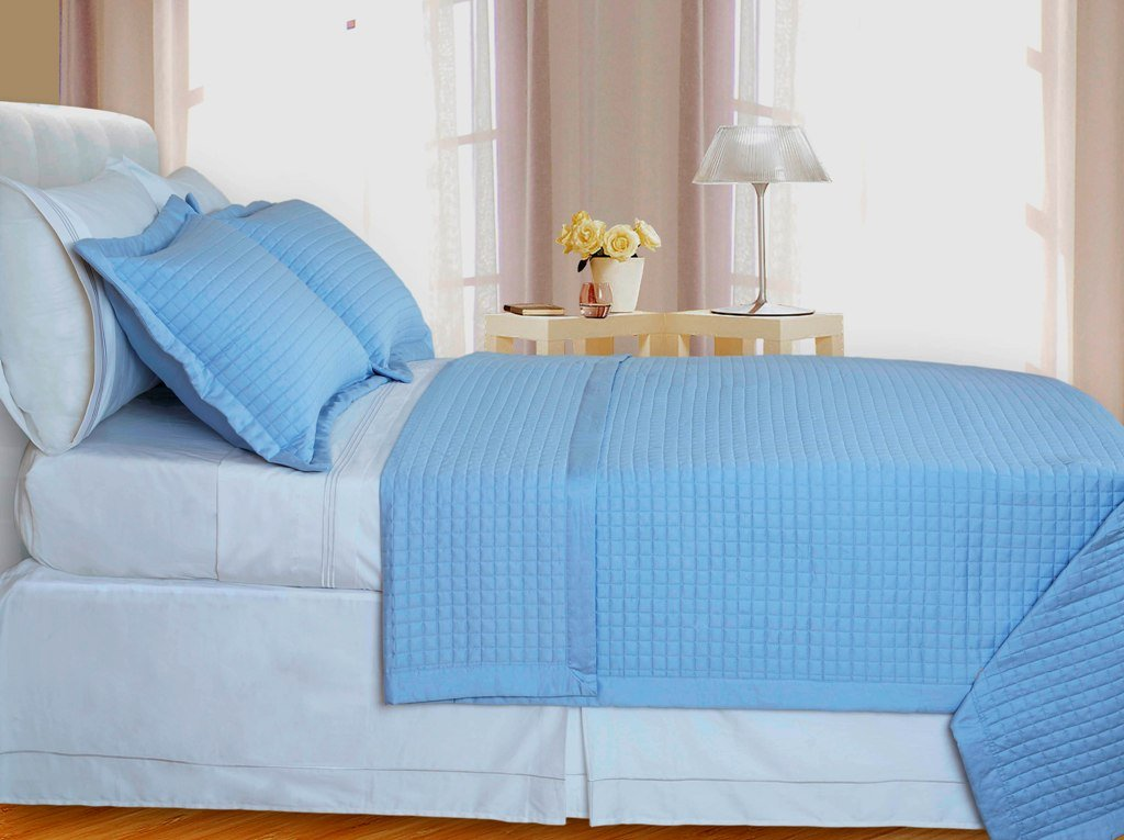 Lit-Blue Checkered Coverlet Set 3PC Egyptian cotton 400 Thread count Reversible