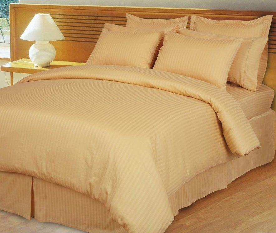 Gold Damask Stripe Down Alternative 4-pc Comforter Set, 100% Egyptian cotton, 600 Thread count