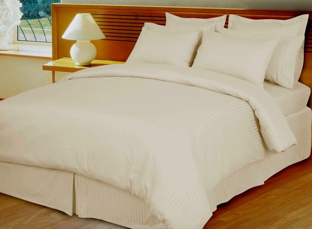 Ivory Damask Stripe, Down Alternative 4-pc Comforter Set,100% Egyptian cotton, 600 Thread count