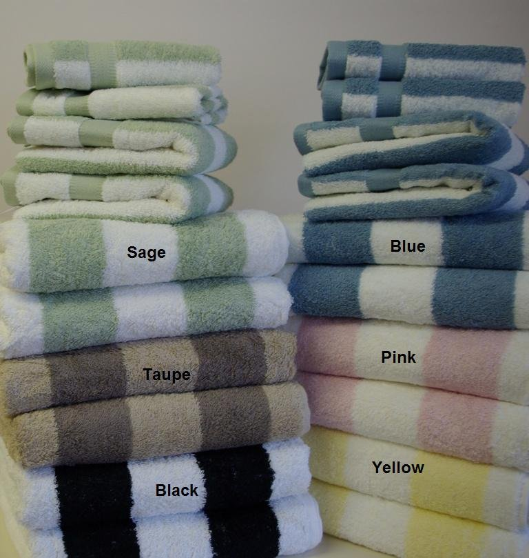 6-Pc Yarn-dyed Towel sets Sage/Taupe/Blue/Yellow/Black