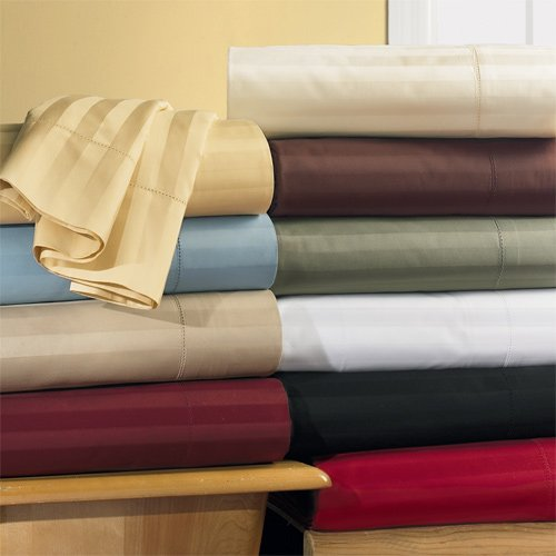 T300 California King Waterbed Sateen Stripe Sheet Sets (unattached)