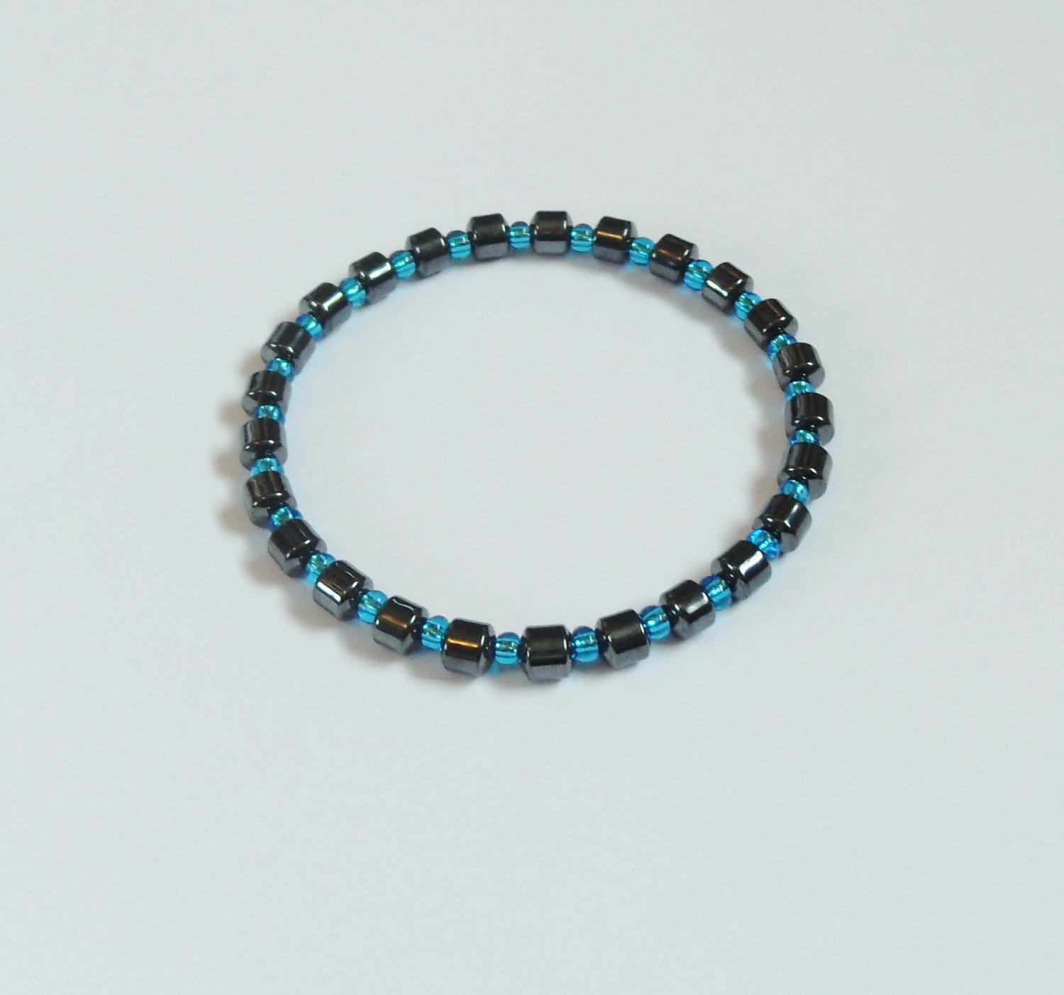 Hematite and clear blue surfer bracelet