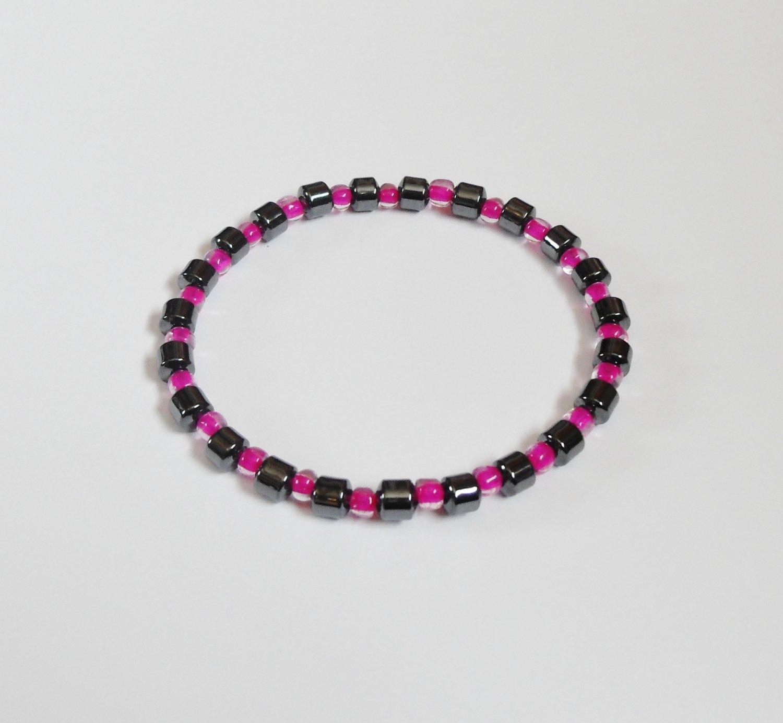 Hematite and clear dark pink surfer bracelet