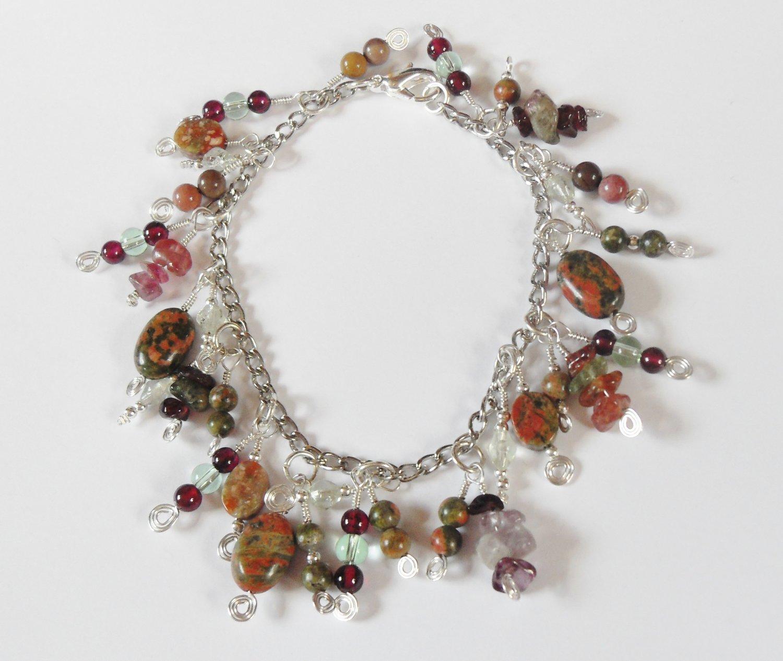 Unakite, garnet, and tourmaline charm bracelet
