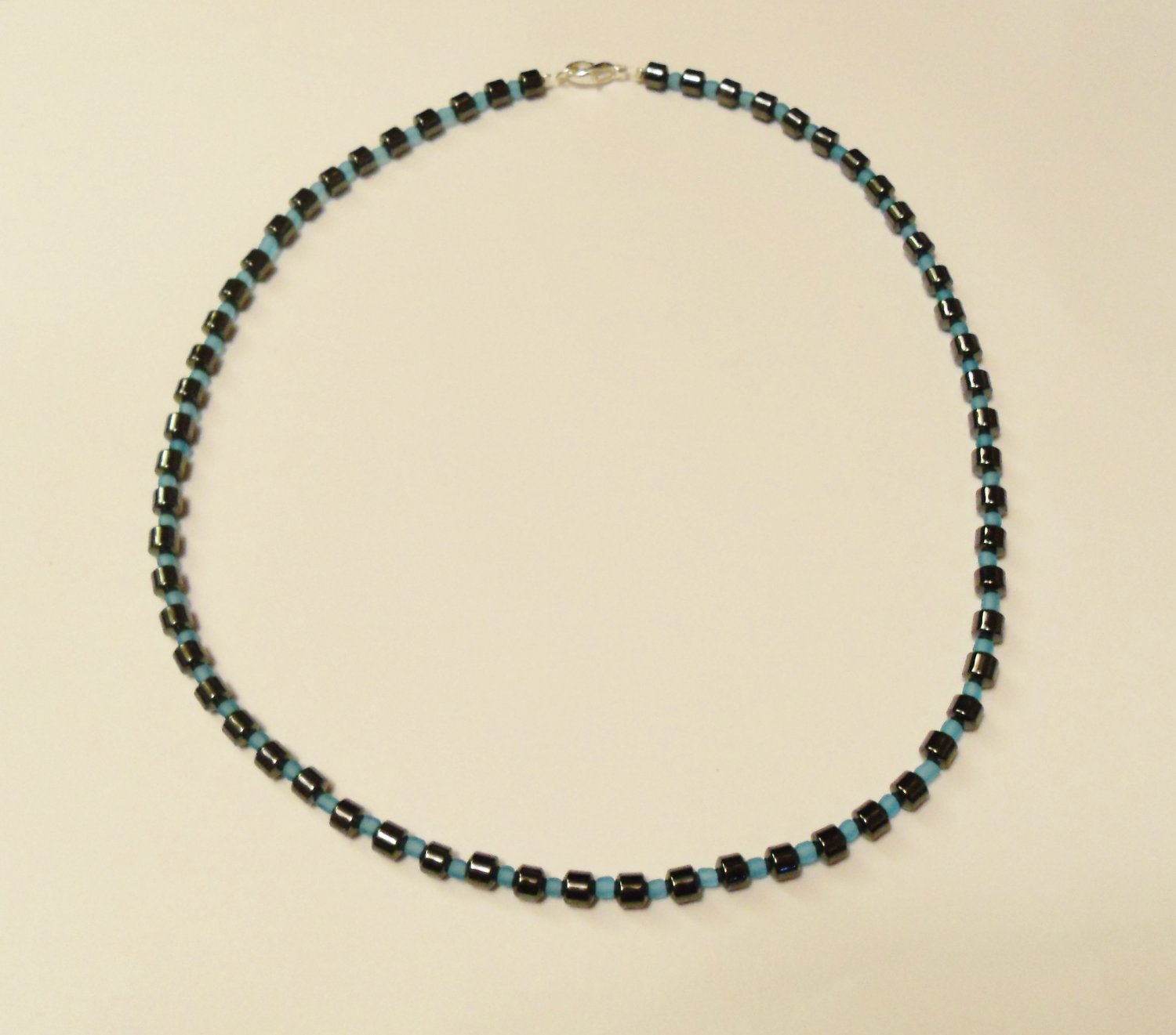 Hematite and opaque blue surfer necklace