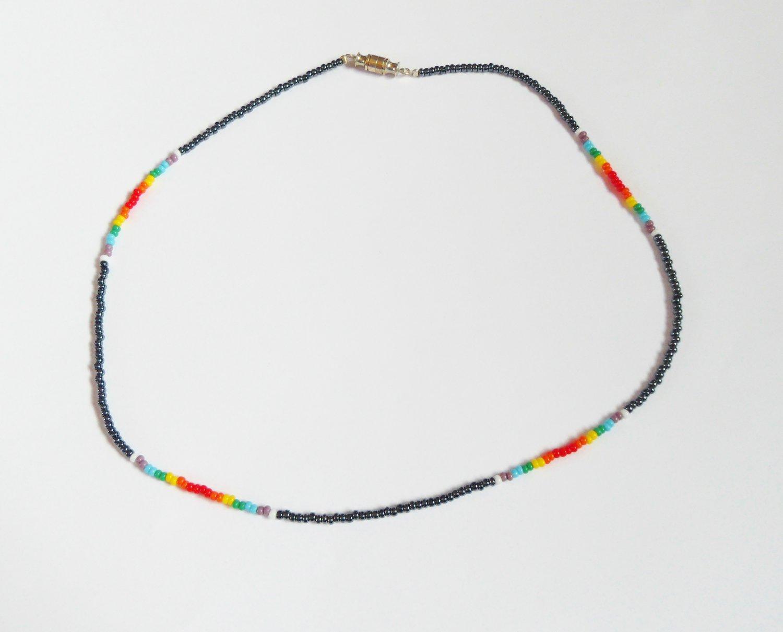 Hematite and multi rainbow necklace
