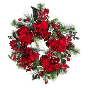 "22"" Holiday Hydrangea Wreath"