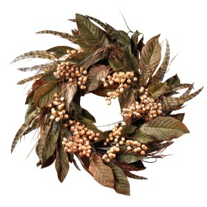 """24"""" Feather & Berry Wreath"""