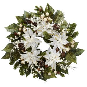 24� Snowwhite Poinsettia Wreath
