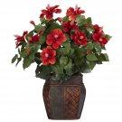 Hibiscus w/Vase Silk Plant