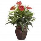 Mixed Greens & Anthurium w/Decorative Vase Silk Plant
