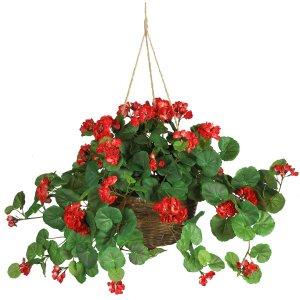 Geranium Silk Hanging Basket - Red