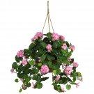 Geranium Silk Hanging Basket - Pink