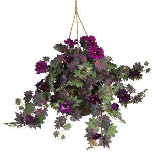 Morning Glory Silk Hanging Basket