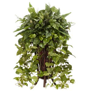 Vining Mixed Greens w/Decorative Stand Silk Plant
