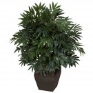 Double Bamboo Palm w/Decorative Planter Silk Plant