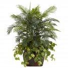3.5' Double Areca w/Vase & Pothos Silk Plant