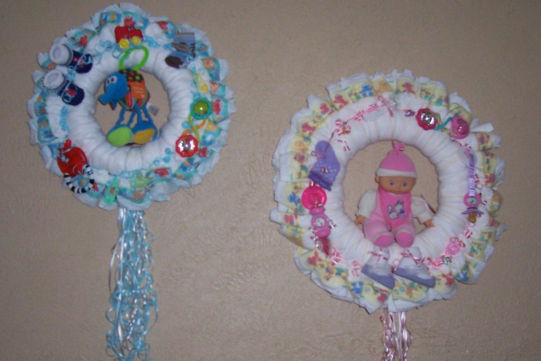 Baby diaper wreaths