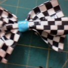 checkerd ans blue bow clip
