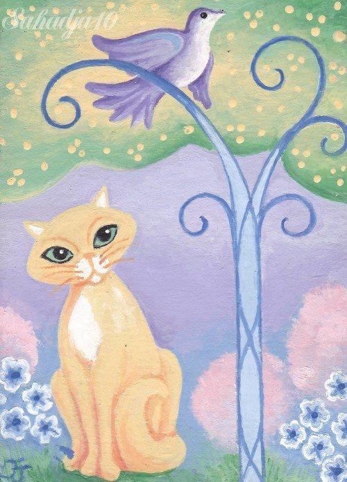 Cat and Bird ACEO Original Fantasy Painting by Tj Nichols-Sahadja10