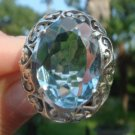 Blue Topaz Ring   size 7   .925 Sterling Silver