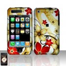 Hard Plastic Rubber Feel Design Case for Apple iPhone 3G/3GS - Red and Gold Flowers