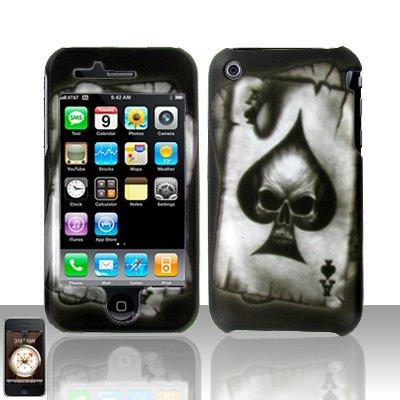 Hard Plastic Rubber Feel Design Case for Apple iPhone 3G/3GS - Ace of Spade Skull