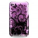 Hard Plastic Design Case for Apple iPhone 3G/3GS - Purple Black Swirls