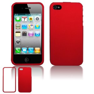 Hard Plastic Rubber Feel Case for Apple iPhone 4/4S - Red