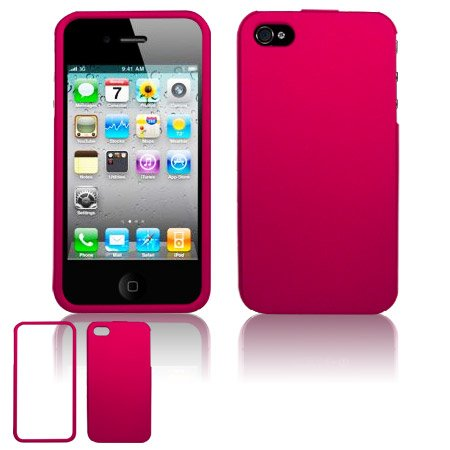 Hard Plastic Rubber Feel Case for Apple iPhone 4/4S - Rose Pink
