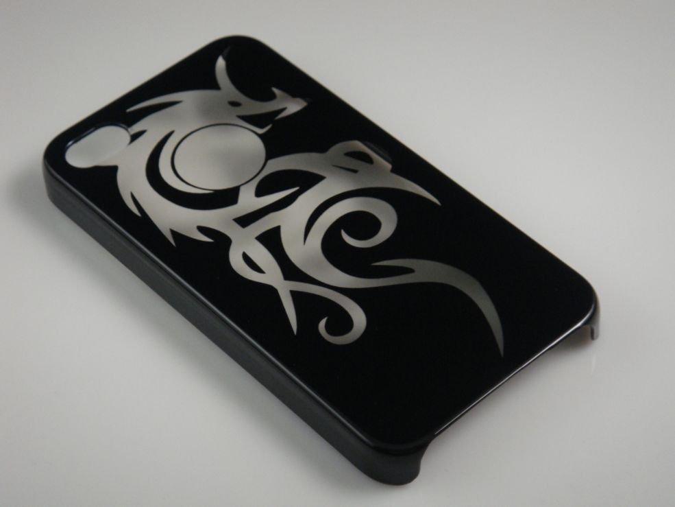 Hard Plastic Dragon Design Back Cover Case for Apple iPhone 4 - Black