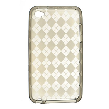 Crystal Gel Check Design Skin Cover Case for Apple iPhone 4/4S - Smoke