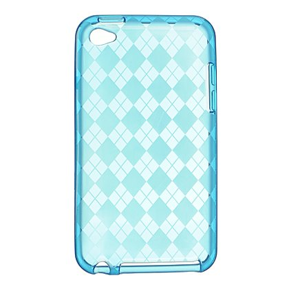 Crystal Gel Check Design Skin Cover Case for Apple iPhone 4/4S - Blue