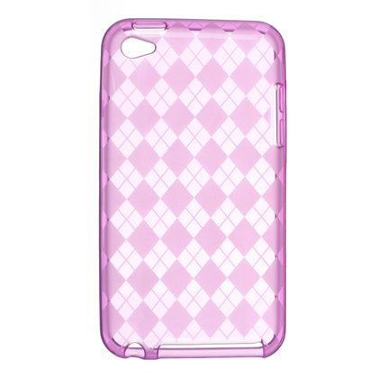 Crystal Gel Check Design Skin Cover Case for Apple iPhone 4/4S - Hot Pink