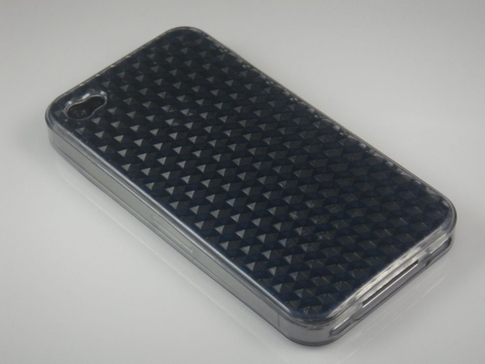 Crystal Gel Diamond Design Case for Apple iPhone 4/4S - Smoke