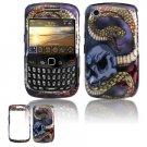 Hard Plastic Design Case for Blackberry Curve 8520 - Snake Skull